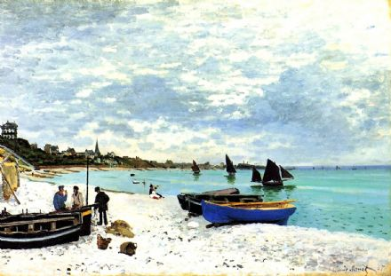 Monet, Claude: On the Beach at Sainte-Adresse. Fine Art Print/Poster. Sizes: A4/A3/A2/A1 (00768)